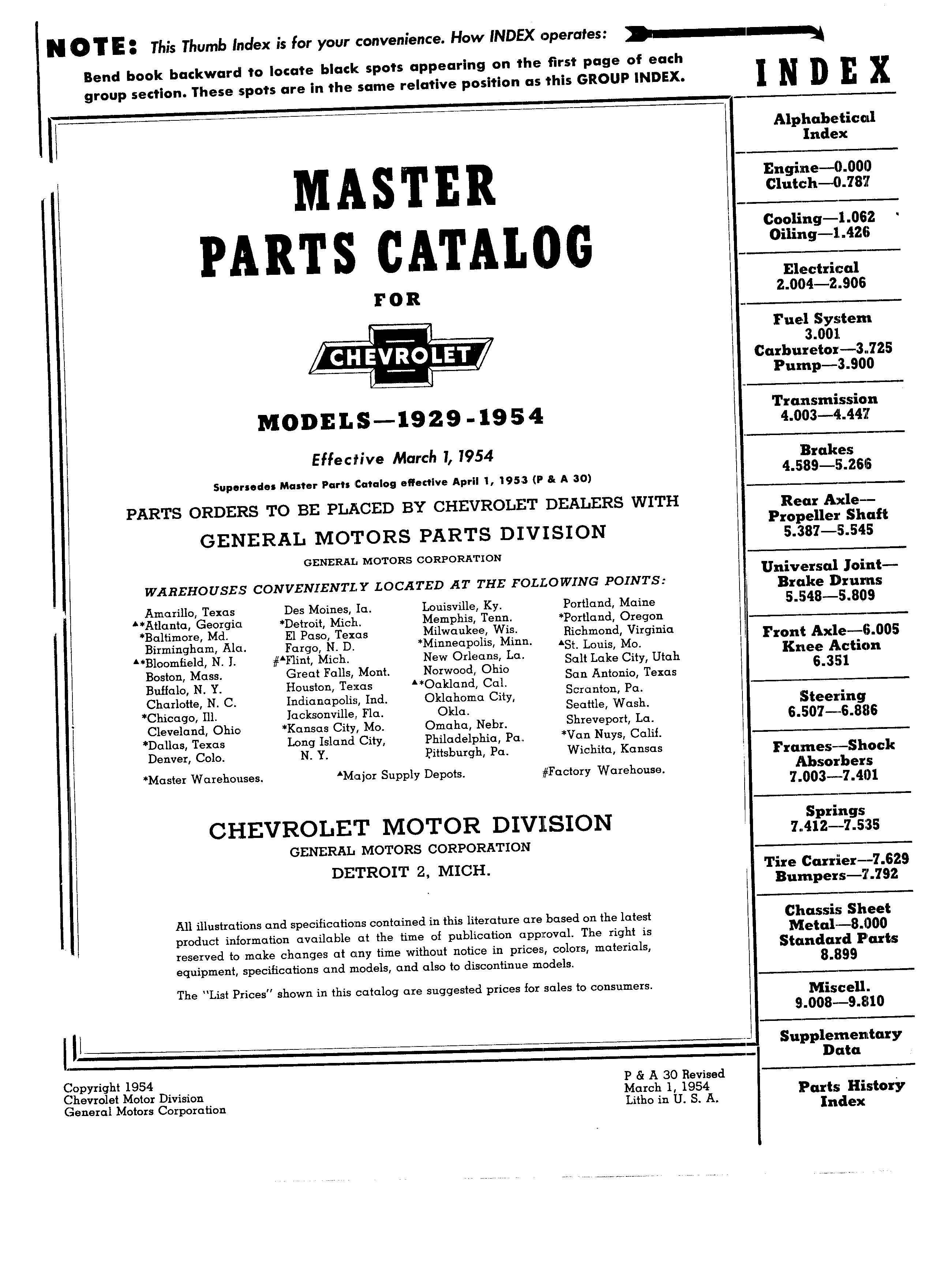 Parts and Accessories Catalog P&A 30 March 1954