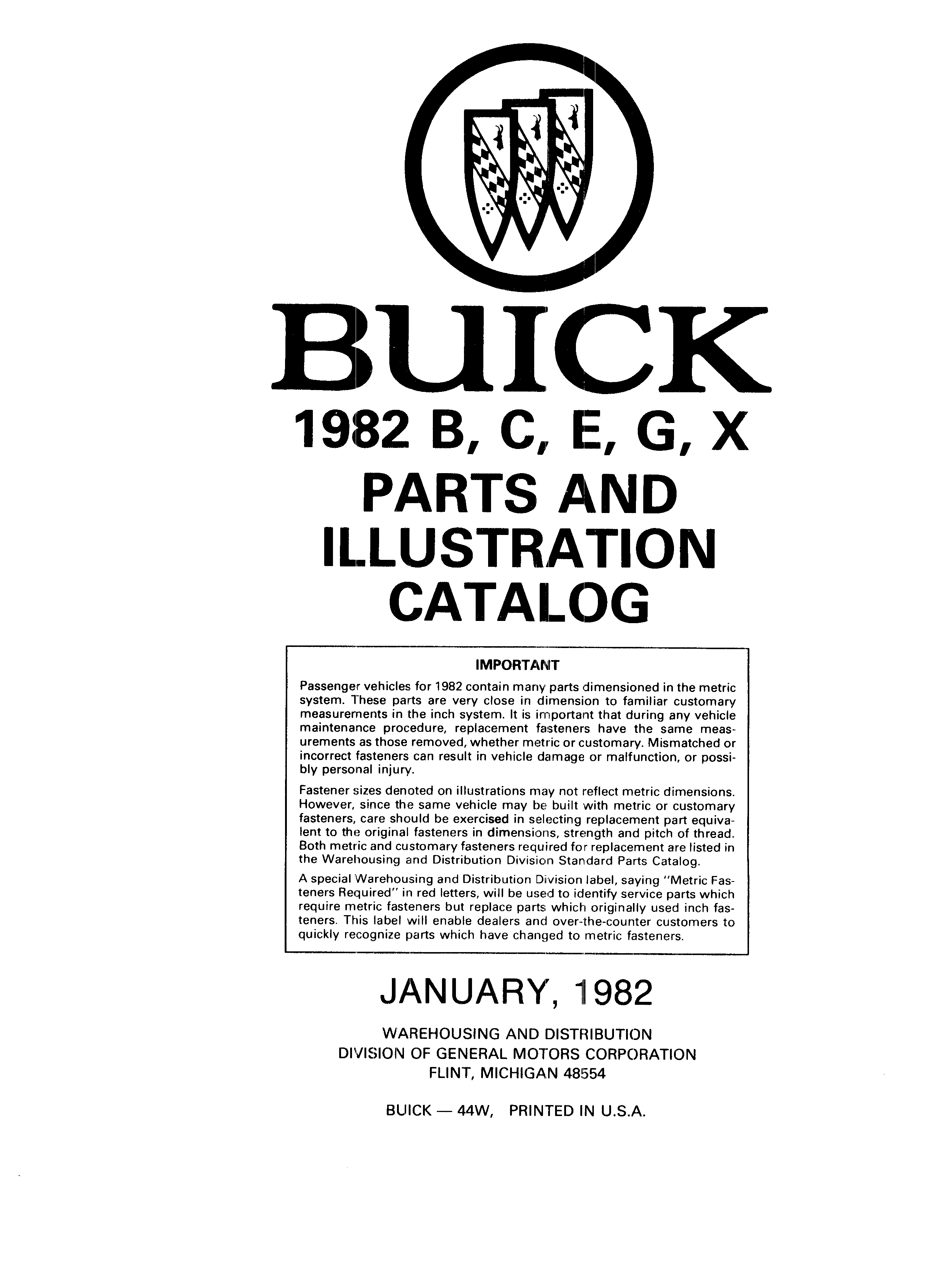 Parts and Illustration Catalog 44W January 1982