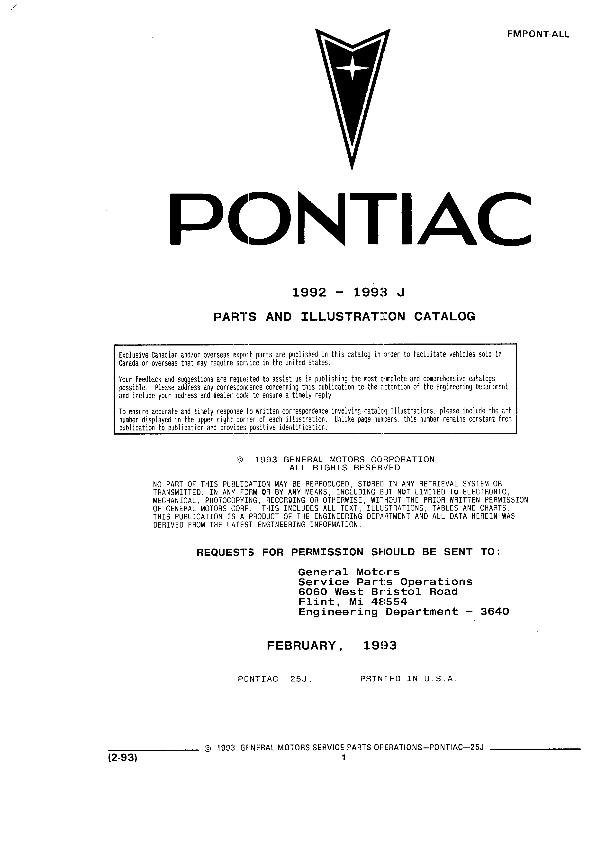 Parts and Illustration Catalog 25J February 1993