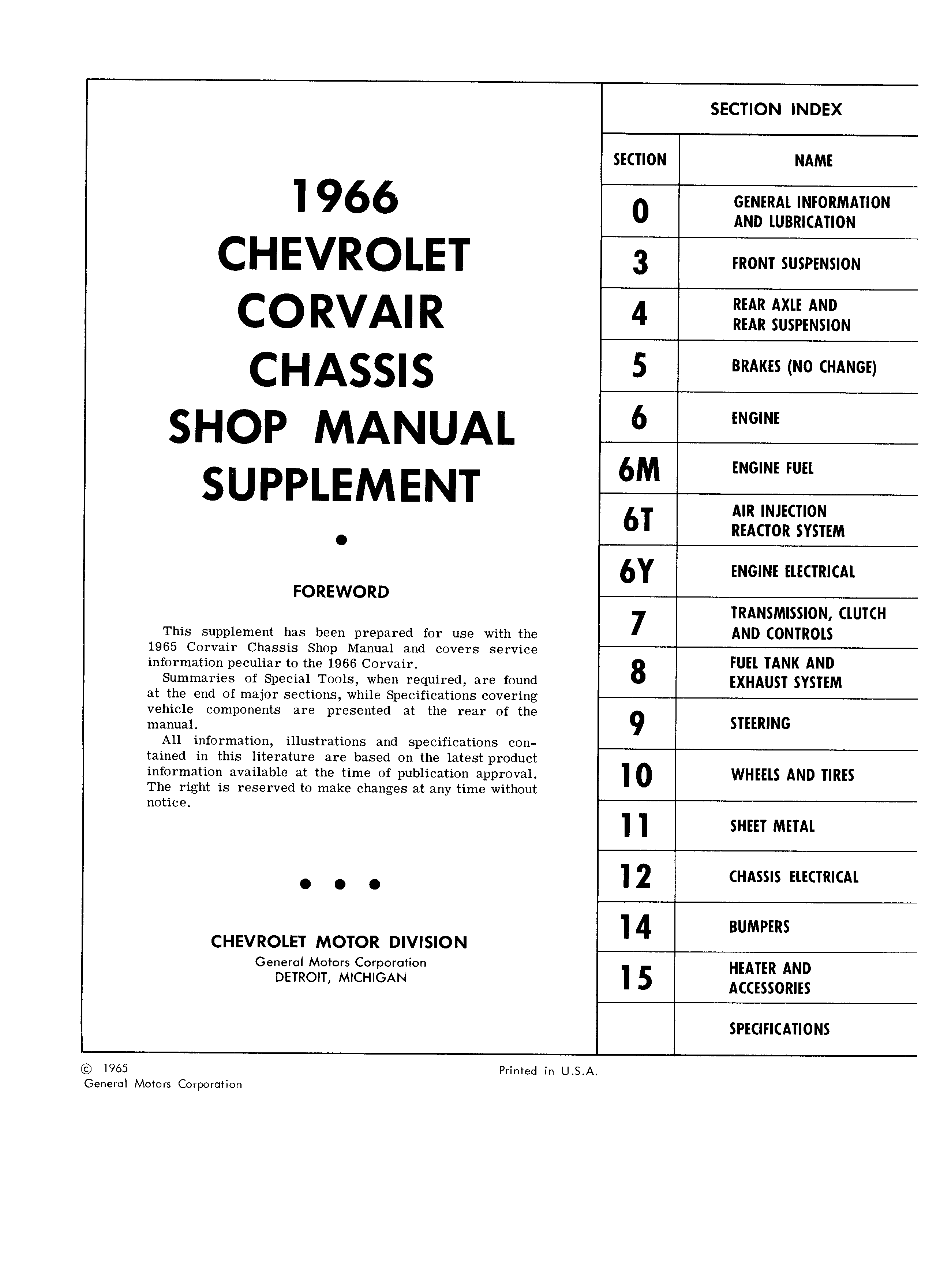 Corvair Chassis Shop Manual Supplement December 1965