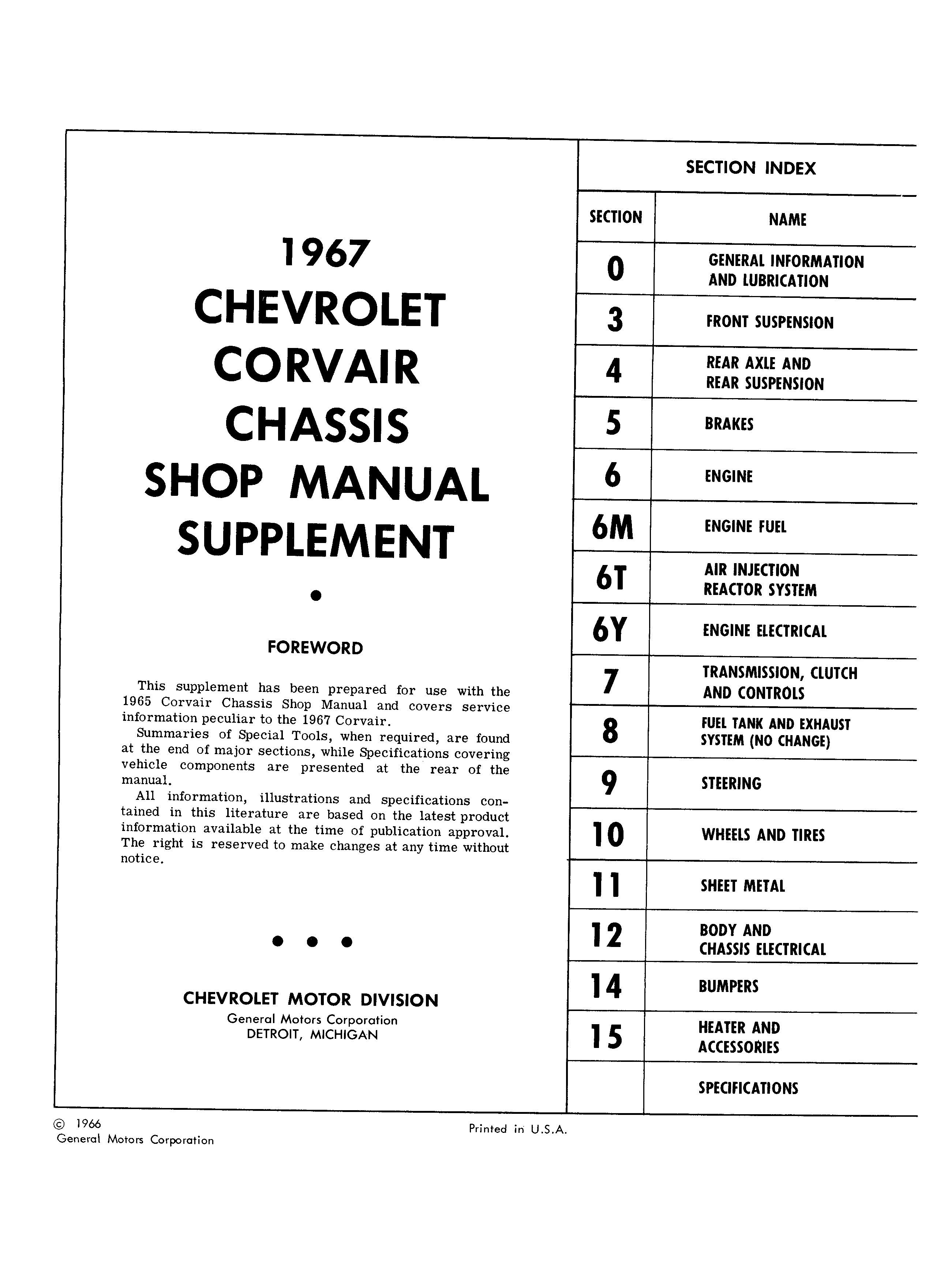 Corvair Chassis Shop Manual Supplement December 1966