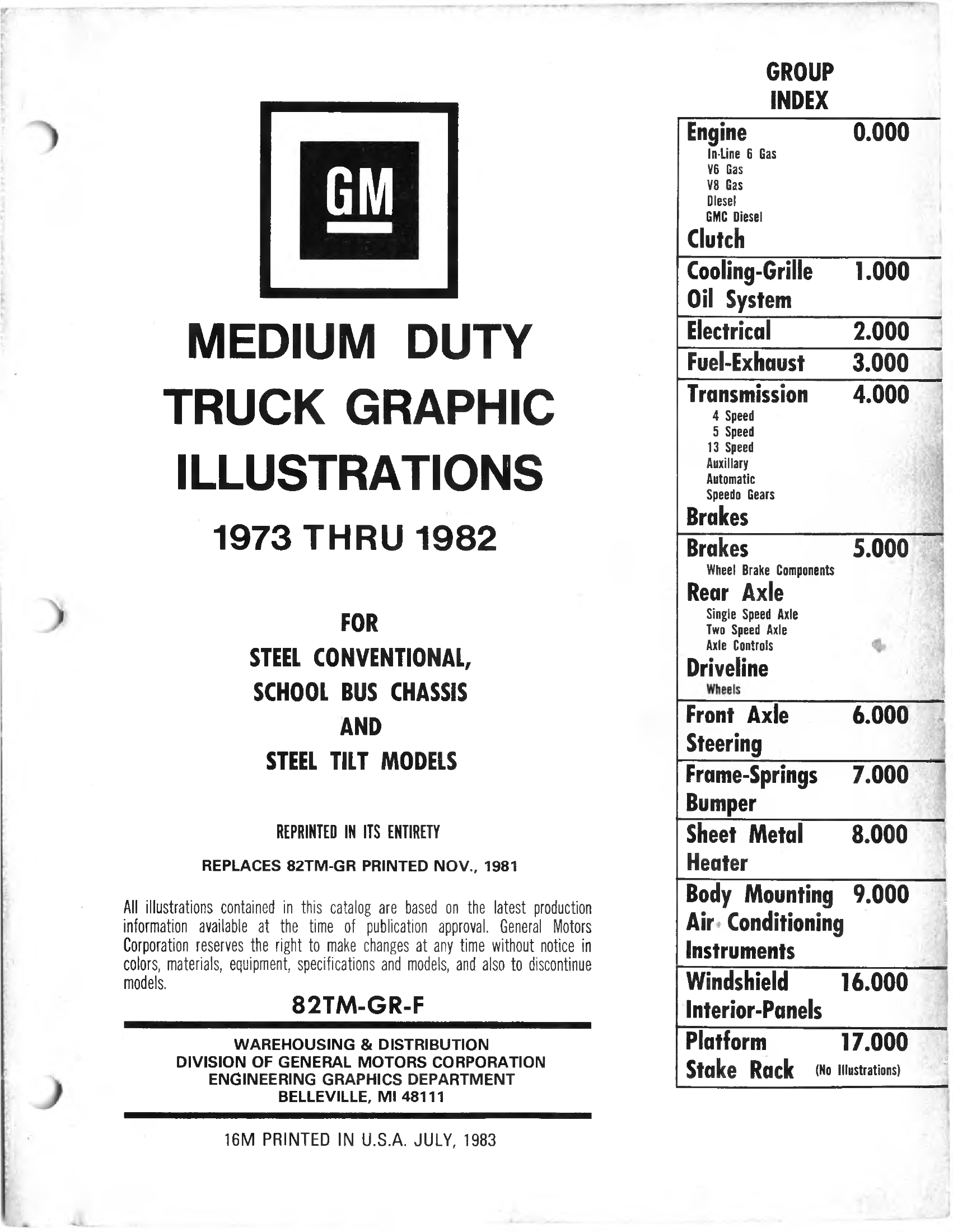 Parts and Accessories Catalog 82TMGRF July 1983