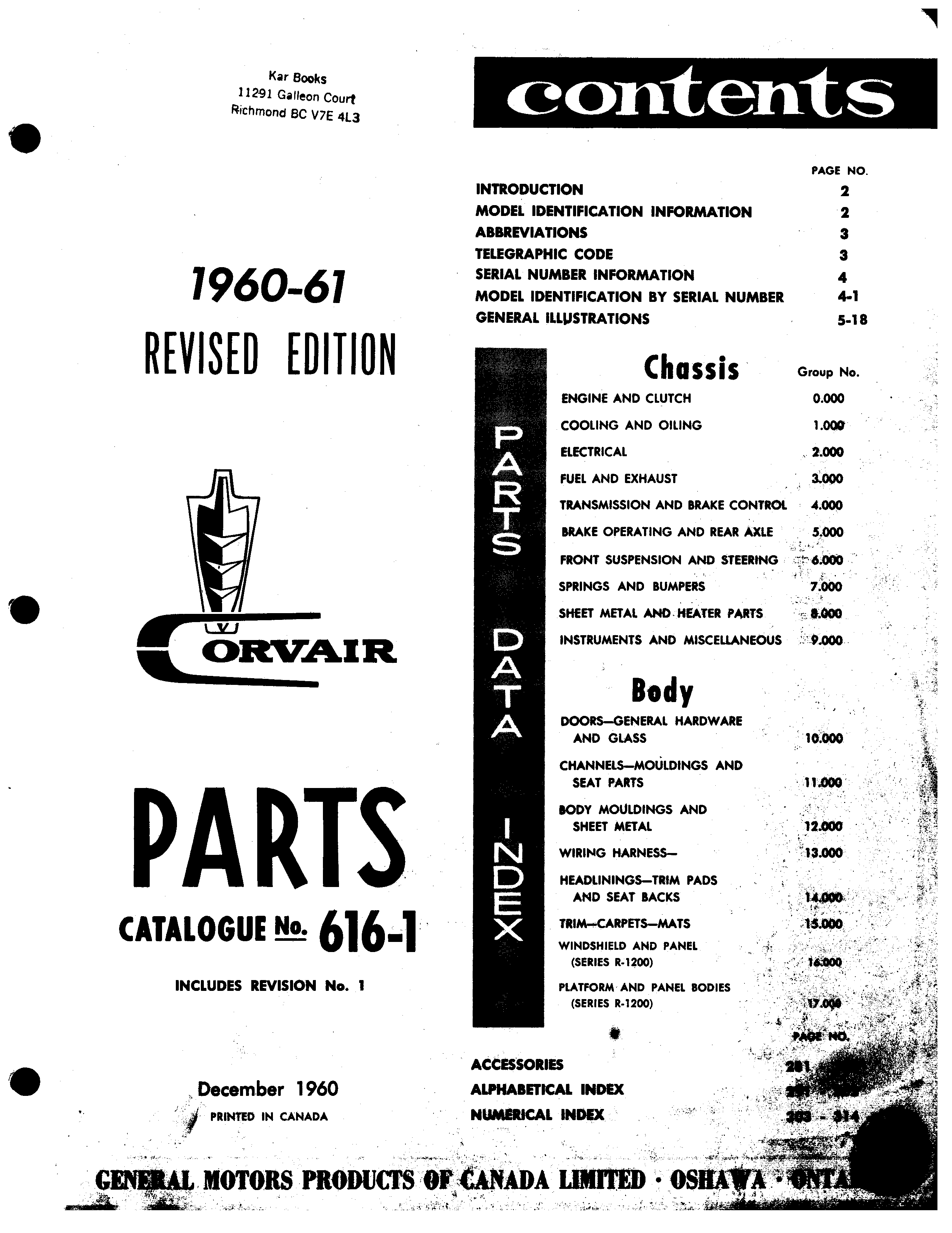Parts Catalogue No. 616-1 December 1960