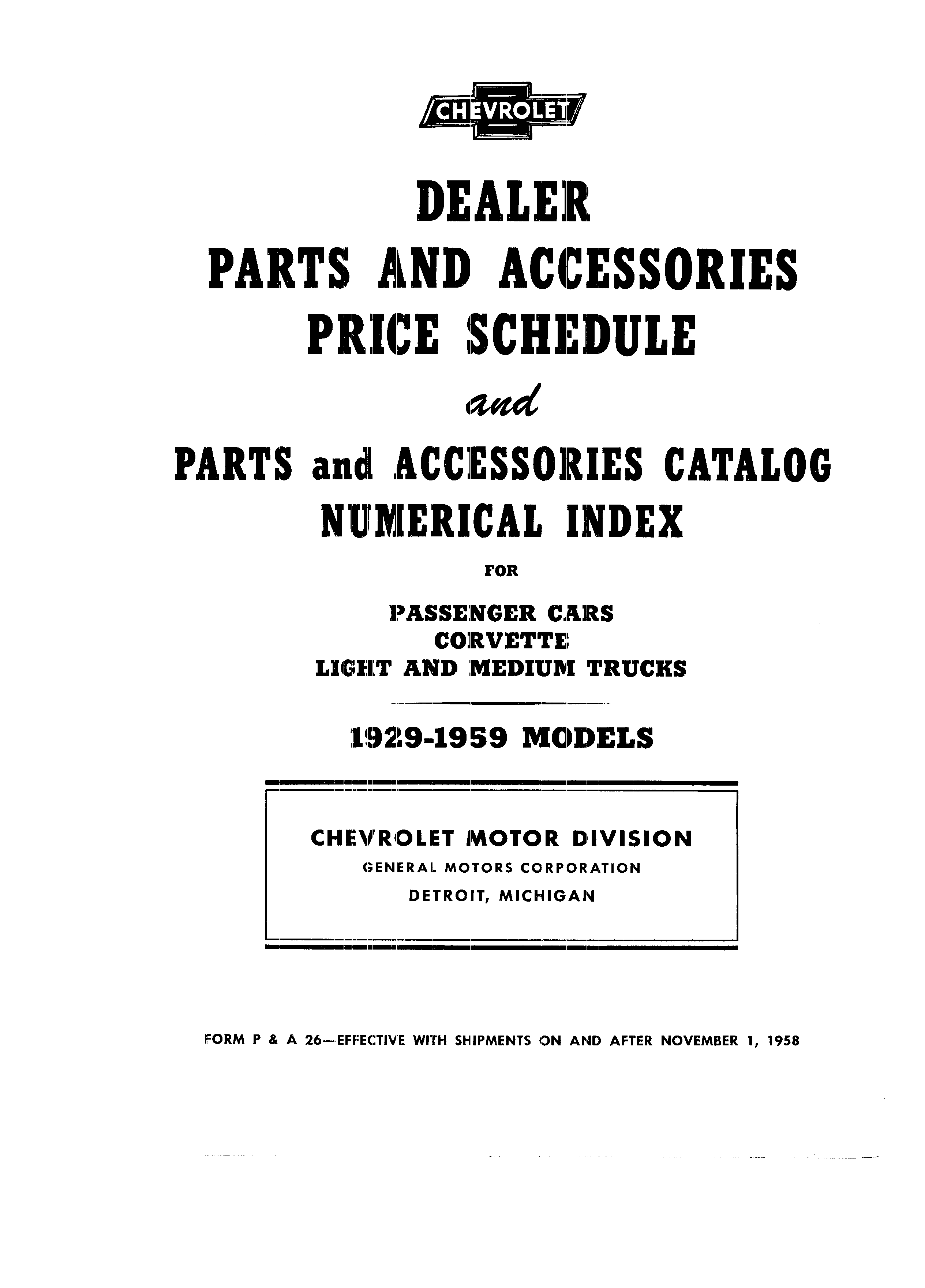 Dealer Parts and Accessories Price Schedule and Numerial Index March 1958