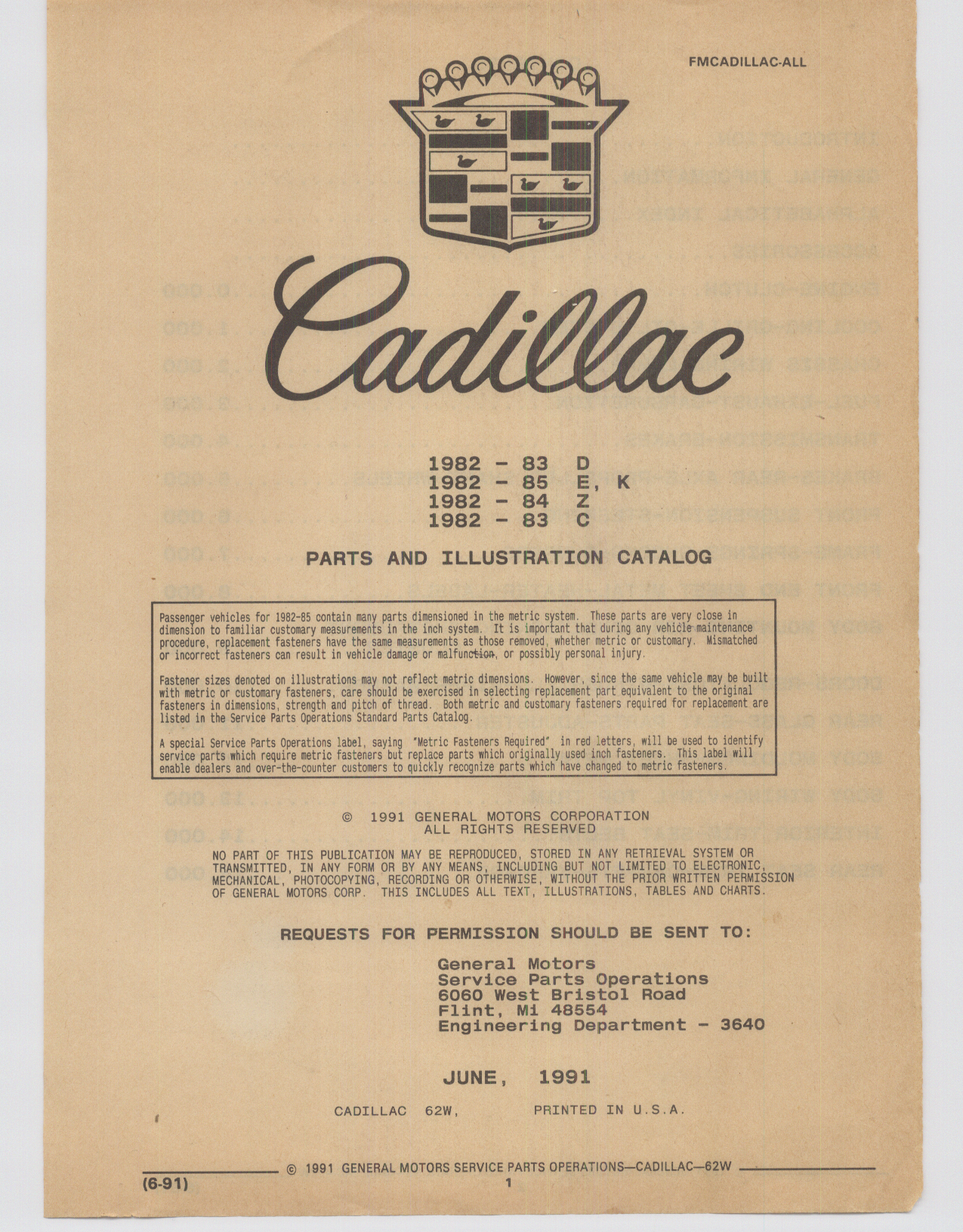 Cadillac Parts and Accessories Catalog June 1991