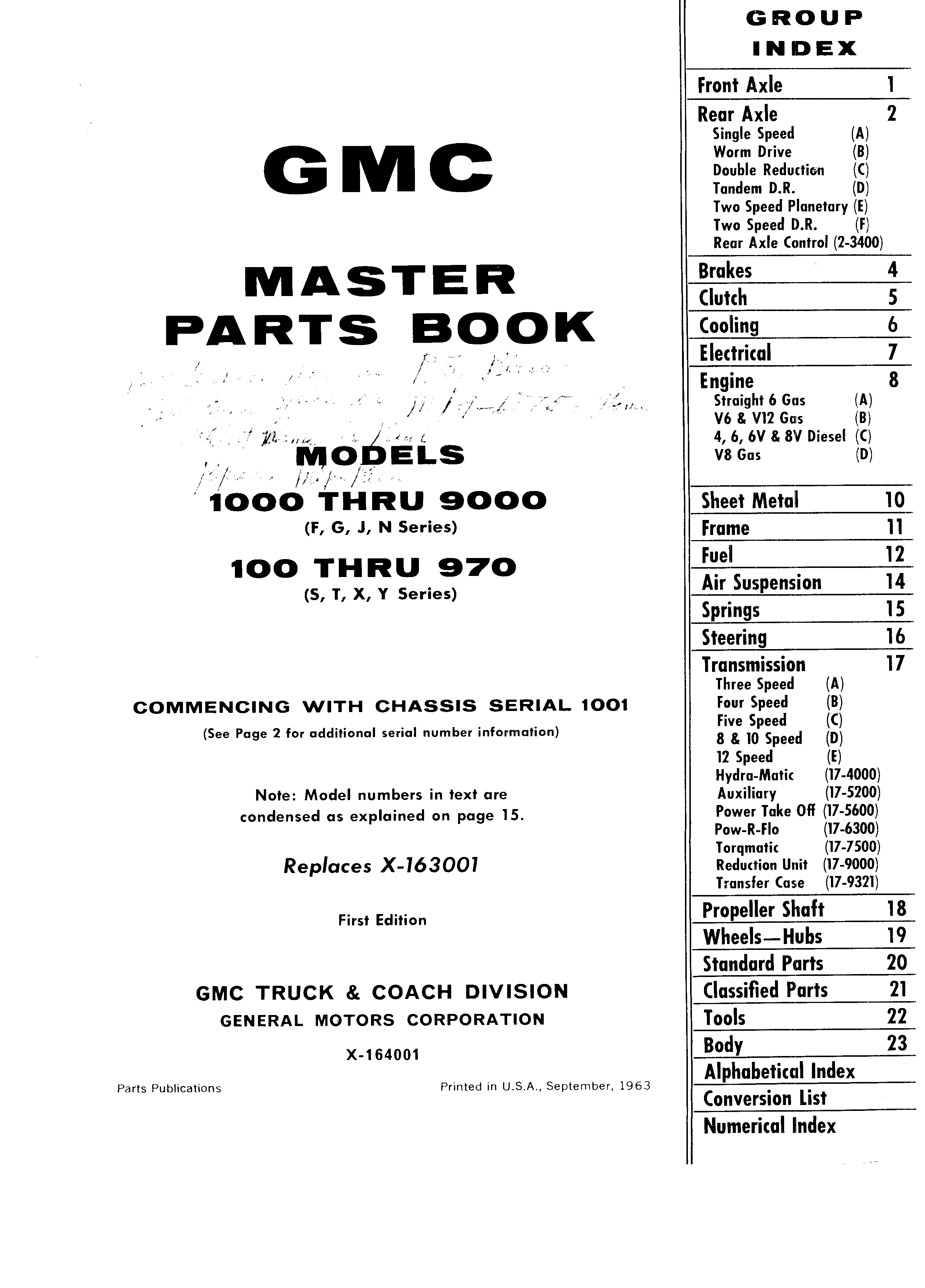 Master Parts Book X-164001 September 1963