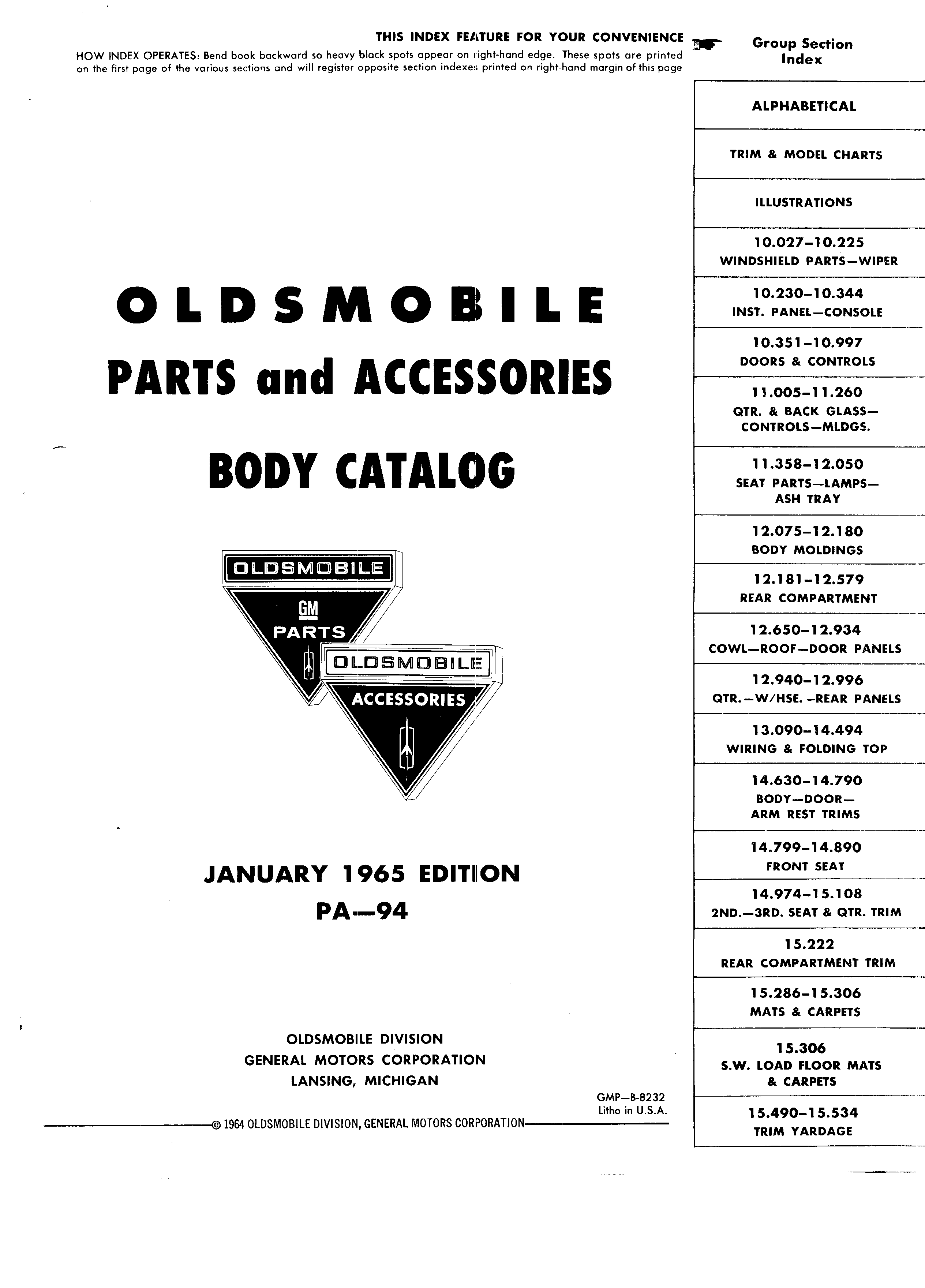 Parts and Accessories Catalog PA-94 January 1965