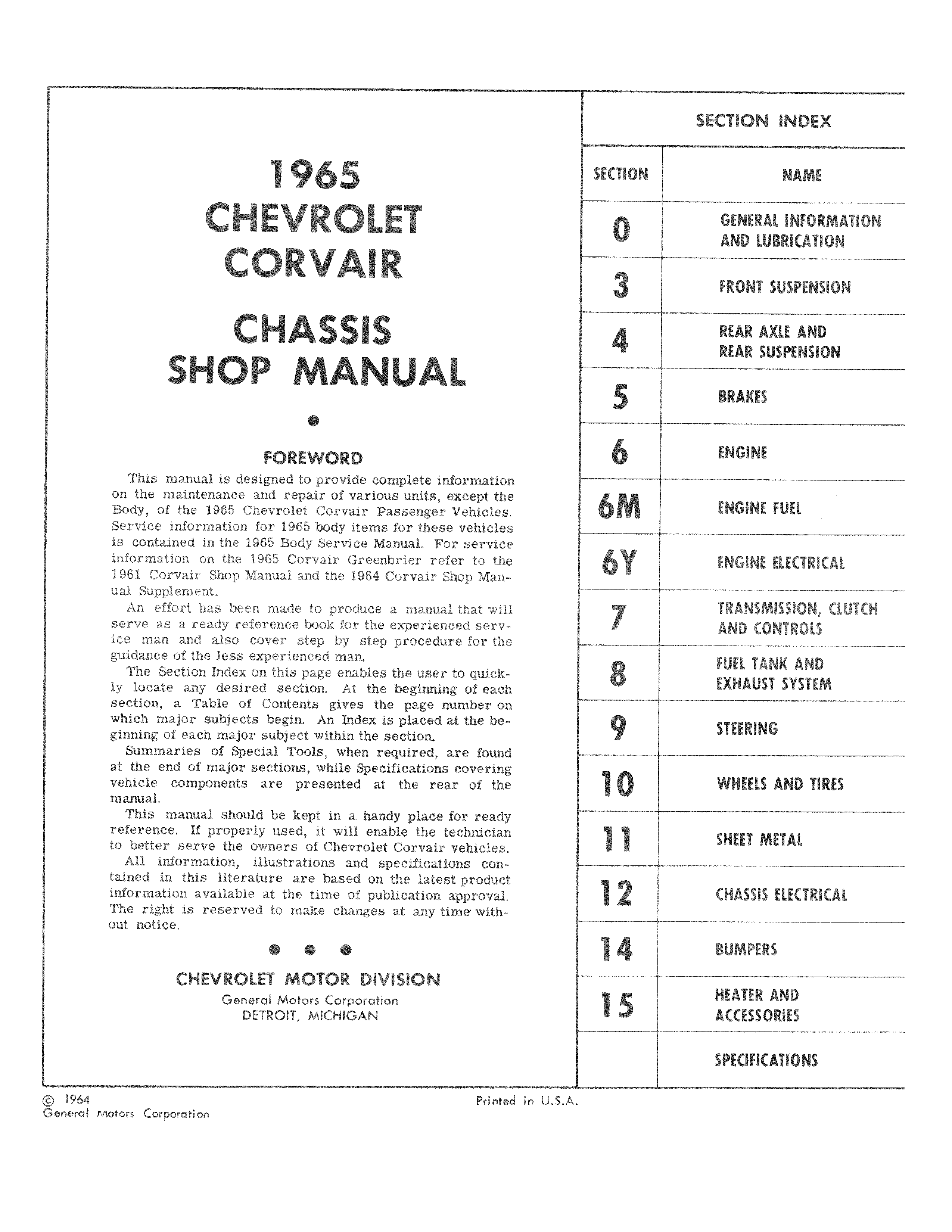 Corvair Chassis Shop Manual December 1964
