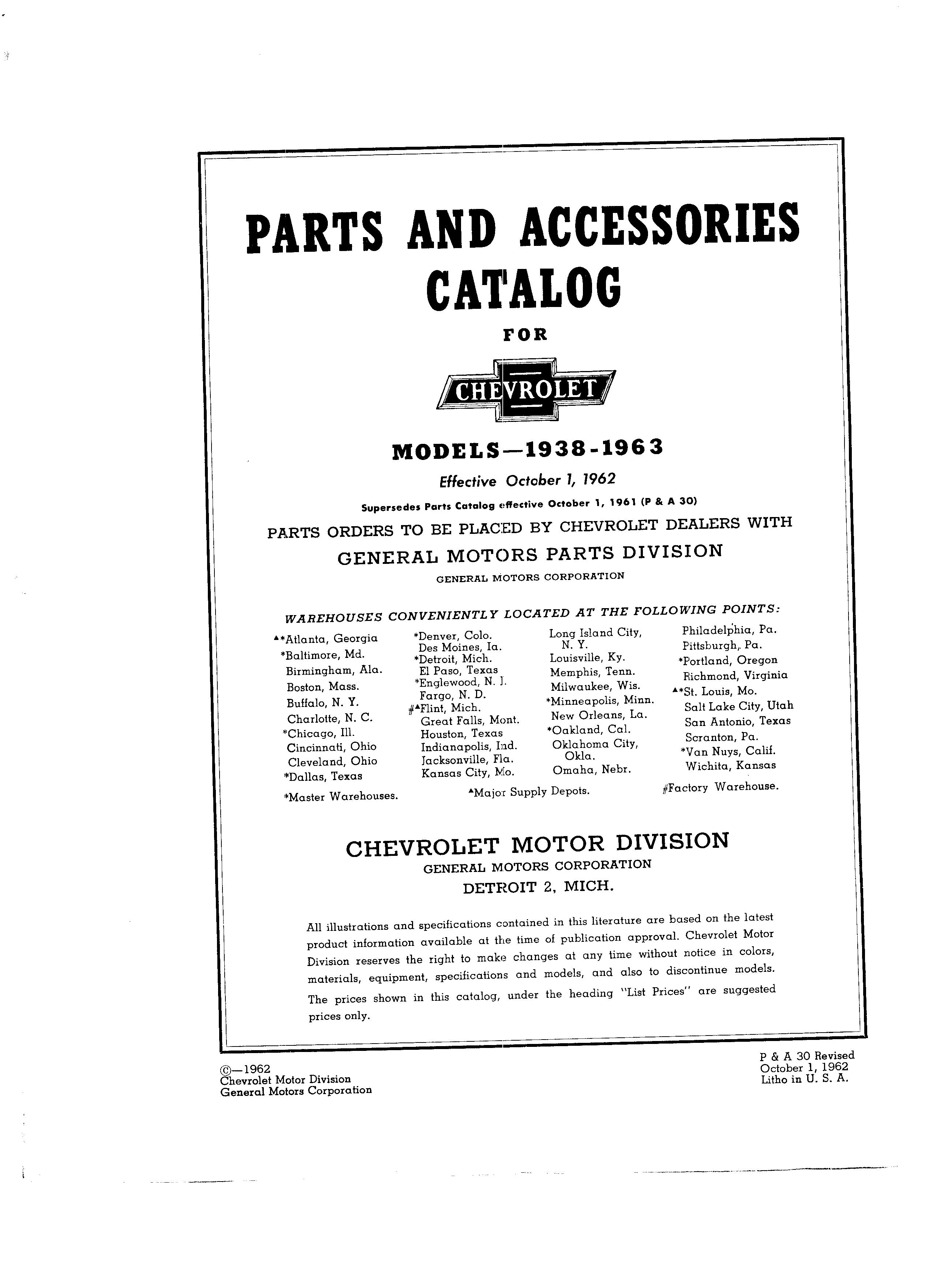 Parts and Accessories Catalog P&A 30 October 1962