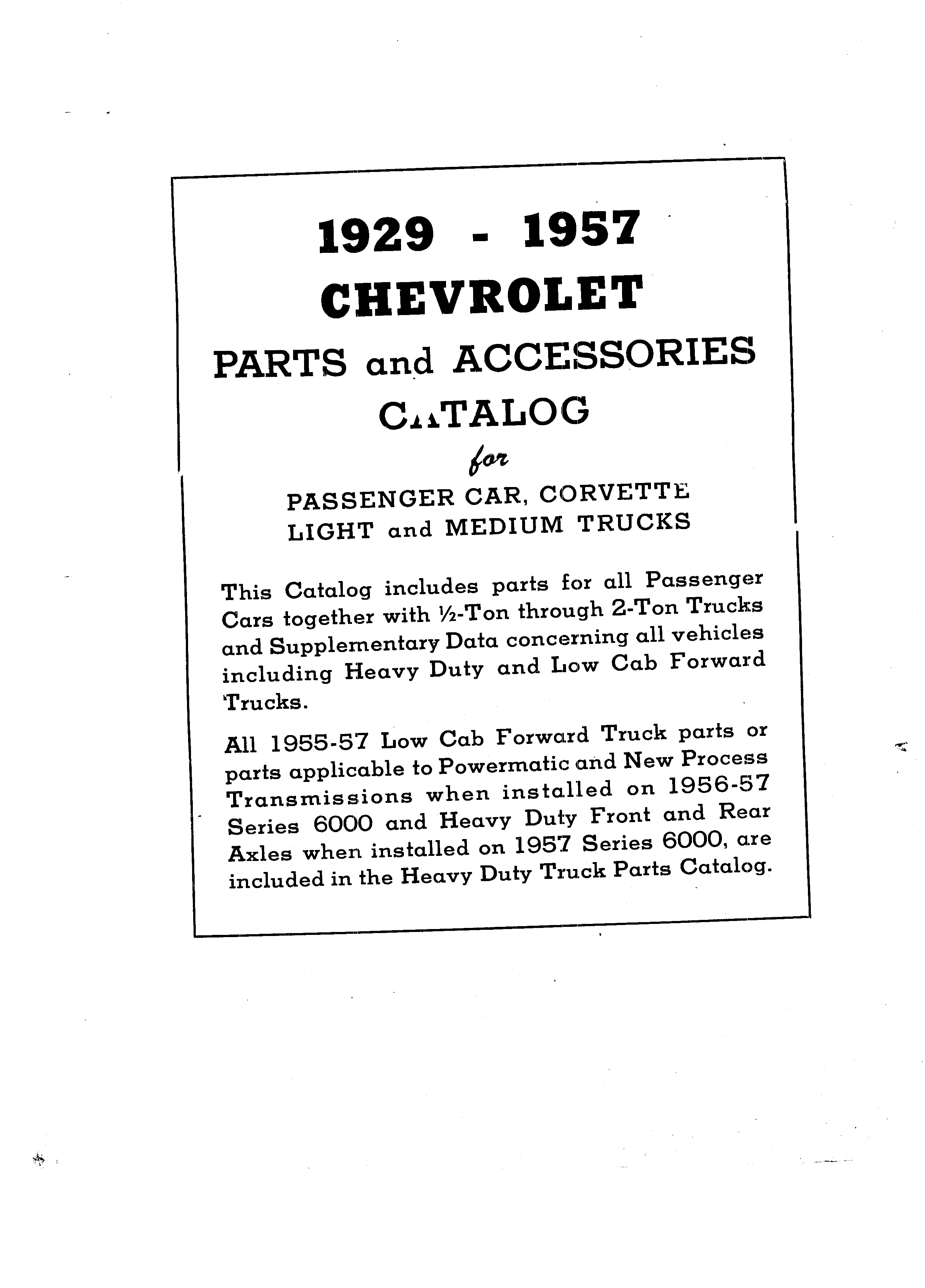 Parts and Accessories Catalog P&A 30 March 1957