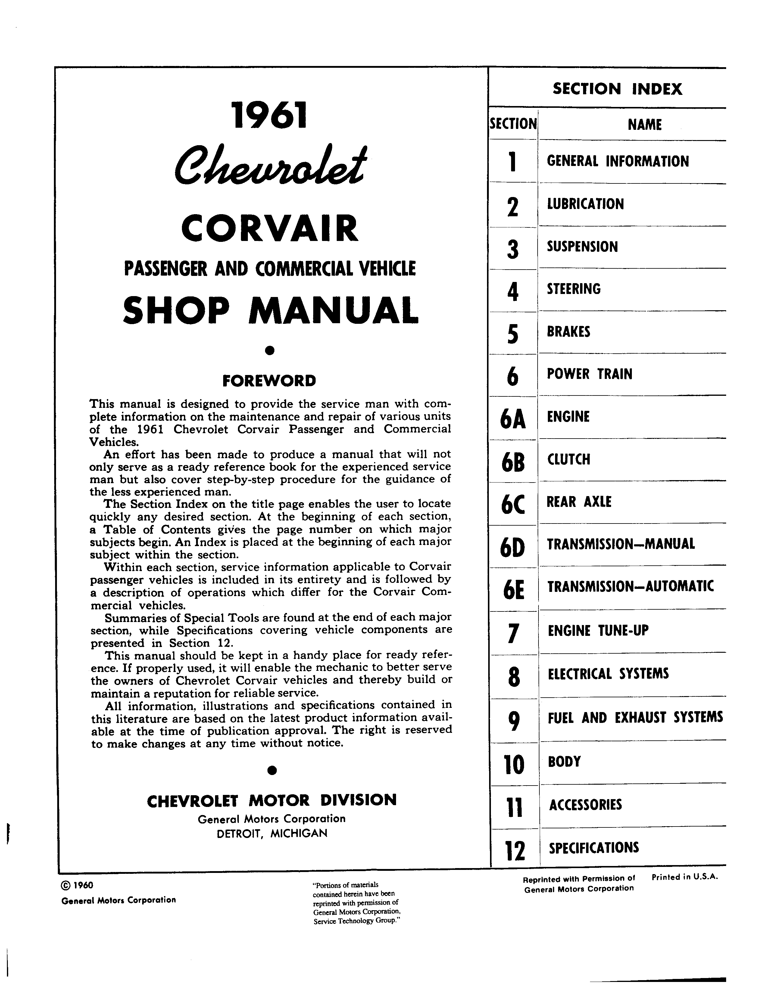 Corvair Shop Manual January 1961