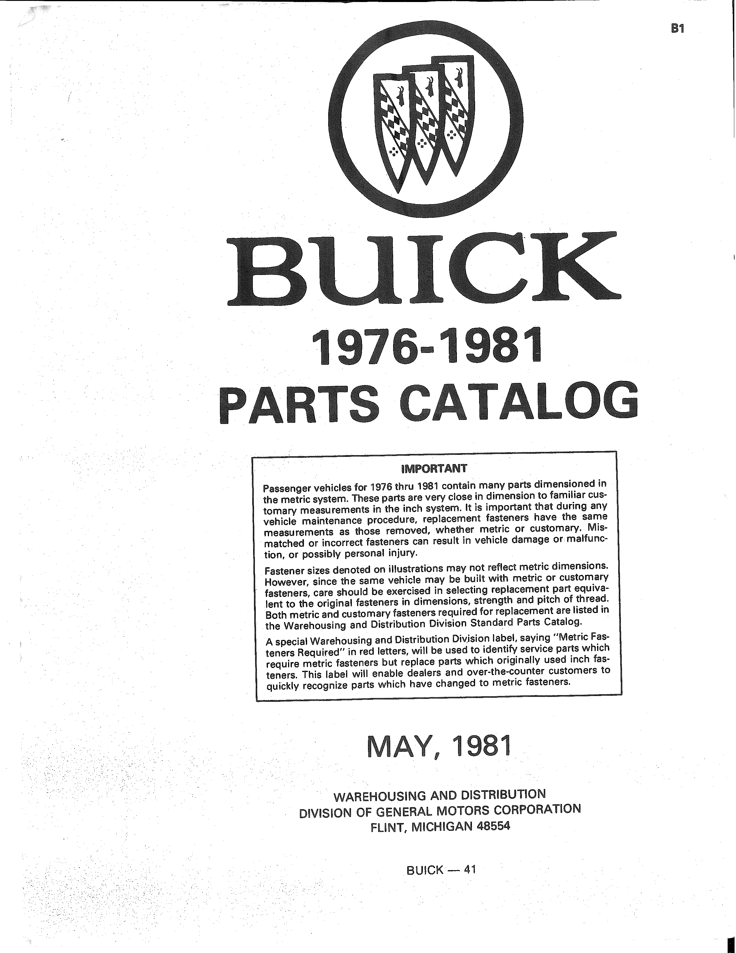 Parts and Accessories Catalog 41 May 1981