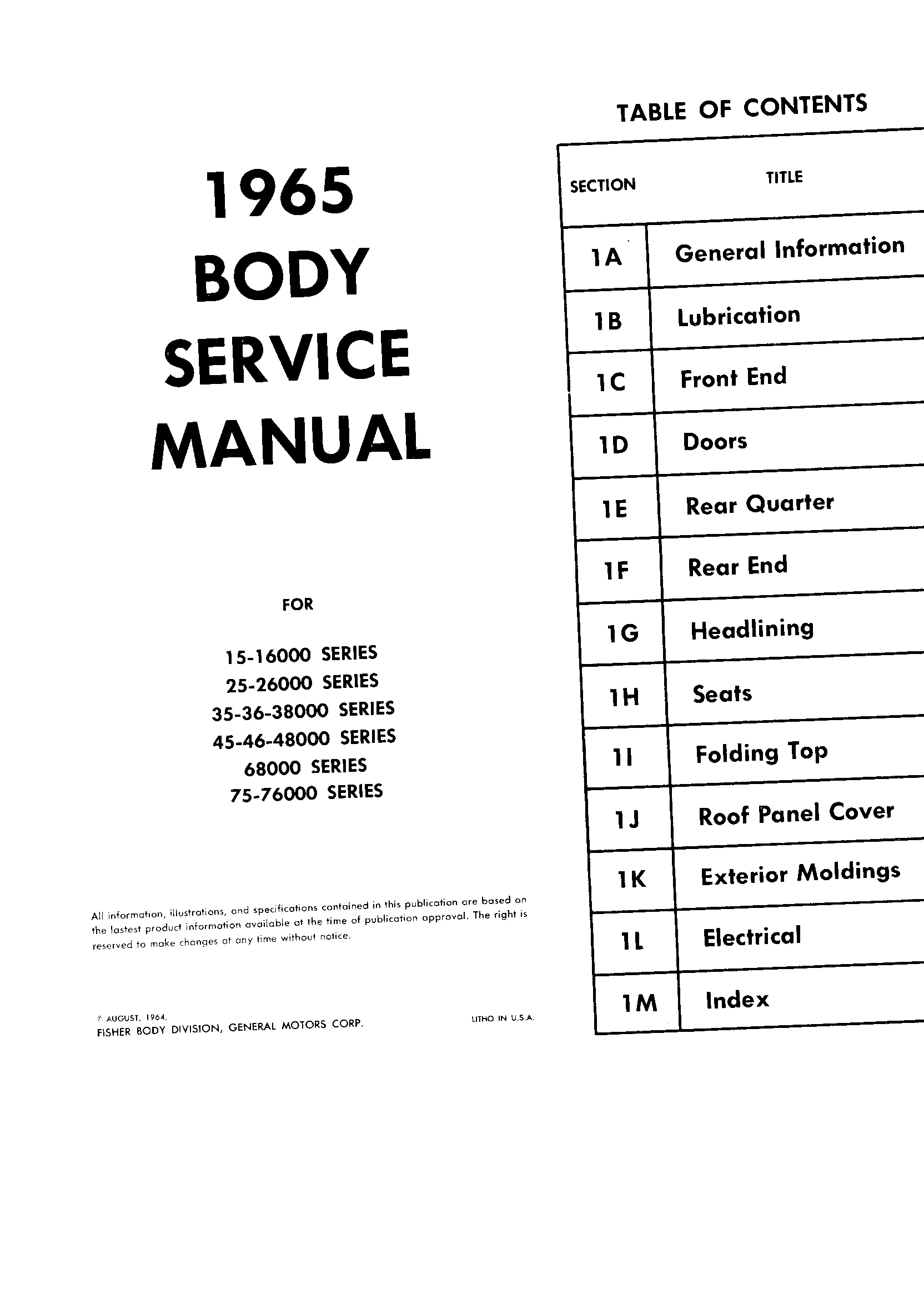 Body Service Manual August 1964